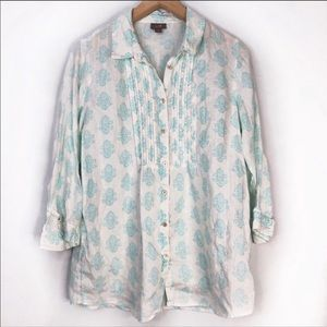 J. Jill White Linen Top with Turquoise Print